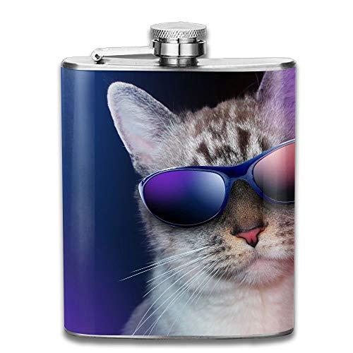 Edelstahl Flachmann 7 Unzen (kein Trichter) Cool Cat Sonnenbrillen Humor voll gedruckt