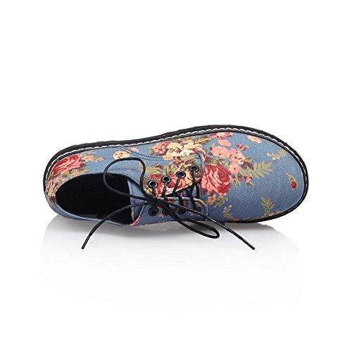 AllhqFashion Femme Jean Couleurs Mélangées Lacet Rond à Talon Bas Chaussures Légeres Bleu