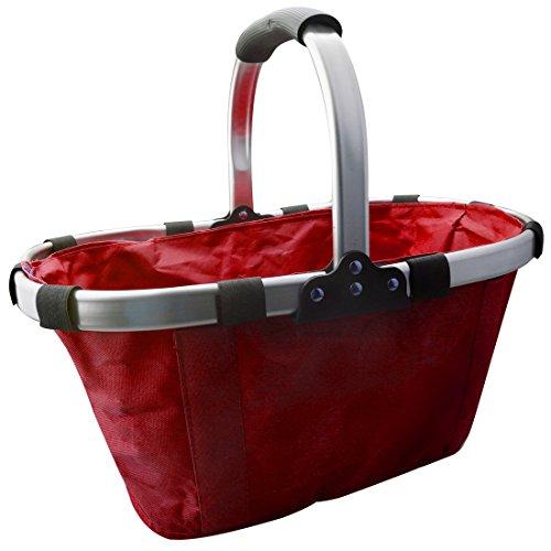 A-SZCXTOP Zusammenklappbarer Picknick Fruchtkorb Langlebige Einkaufstasche Garten Tote Aluminium Legierungsrahmen und Umgebungs Oxford Tuch Leicht und Tragbar-Rot