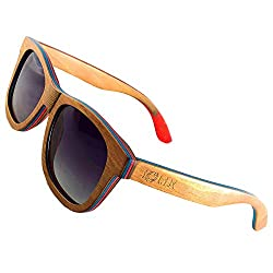 IOLIX Sonnenbrille aus Skateboard Holz mehrfarbig mit flexiblen Bügelscharnieren, polarisierte Verlaufsgläser mit UV400 Schutz CAT3
