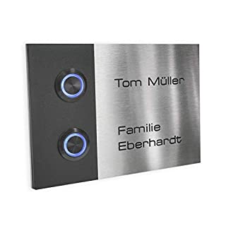 Metzler-Trade – Doorbell for multi-family house – made of stainless-steel – with engraving and LED push-button – weather-resistant and durable – for flush-mounting – product dimensions: 4.72 x 6.69 inches