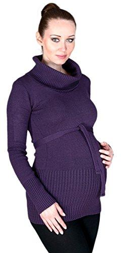 Zeta Ville - Maternité Pull Tunique de grossesse - encolure roulé - femme - 358c Pourpre