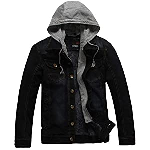 Oasics Herren Jeansjacke Herbst und Winter Lässig Mit Kapuze Plus Samt Warm Washed Distressed Denim Jacke Tops M-3XL