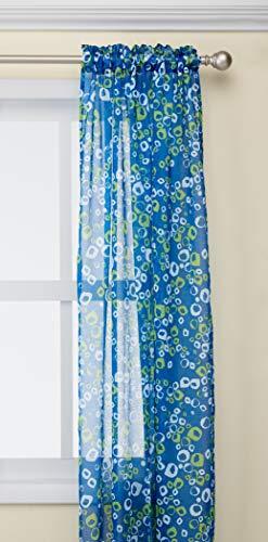 Deconovo Vorhang für französische Türen, mit Luftblasen-Motiv, Bedruckt, Leinenoptik, 2 Paneele, durchsichtig, 106,7 x 245,3 cm, Dunkelblau und Grün (Schiere 84 Weiß Vorhang)