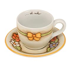 Idea Regalo - THUN Country Tazza Colazione, Porcellana, Multicolore, 25 x 21.7 x 12 cm