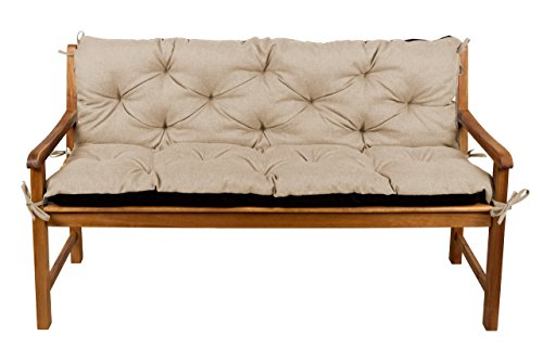 Bankauflage Bankkissen Sitzkissen + Rückenlehne für Hollywoodschaukel Gartenpolster (120x50x50, 5 Beige)