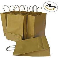 6a1dcc14a TOHTEM 25 Bolsas de papel reciclado grandes con asas reutilizables Ideal  para evento boda regalo fiestas