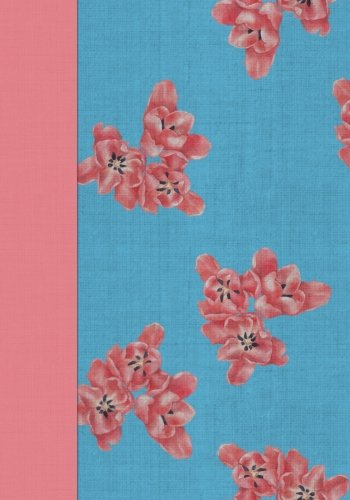 Blue with Pink Flowers Chintz Notebook -- Creative Journal: 7x10, Cream Paper, 5mm Dot Grid, 184 Pages - Blue Chintz