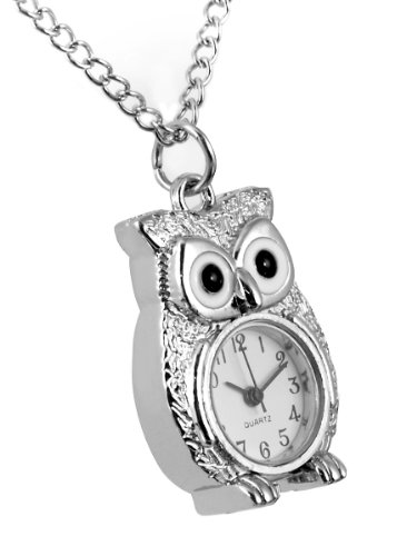 Owl Necklace Watch Ladies Pendant Necklace with Quartz Pocket Watch on Chain supplied in Red Gift Box