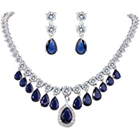 EVER FAITH???femminile CZ Stunning multipla Teardrop ciondola collana orecchini set Navy Blue Silver-Tone