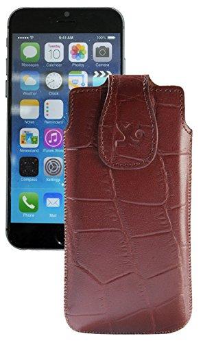 """Original Suncase Tasche für iPhone 7 / 6 / 6S (4.7"""") Leder Etui Handytasche Ledertasche Schutzhülle Case Hülle / in croco-braun croco-braun"""