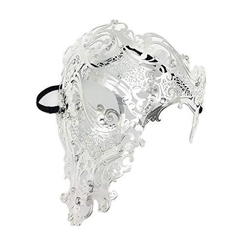 WBCAGN Halloween - Maske schmiedeeiserne Maske mit diamanten aus Metall augenklappe Maskerade der eisernen Maske Weihnachten Feiern mit,Silber