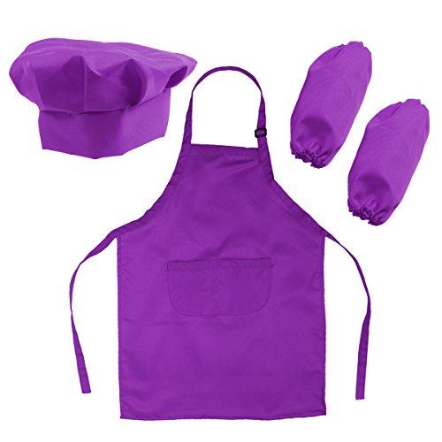 (OUNONA Kids' Chefkoch-Set Kinderschürze Hut und Cooking Ärmel Kinder Chef Set zum Kochen Backen Malerei oder Dekoration (lila))