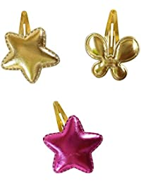Tiny Closet Gold And Pink Non-Precious Metal Hair Clip For Girls Set Of 3 (CMB-13)