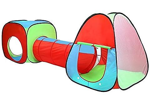 Inside Out toys Piscine à boules avec tunnel pour enfants Rouge / bleu / vert