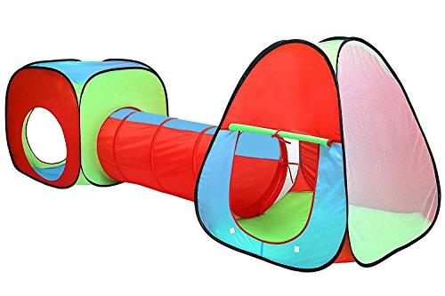 Inside Out Toys - Tente de Jeu d'enfants et Tunnel et Auto-dépliants - Rouge/Bleu/Vert