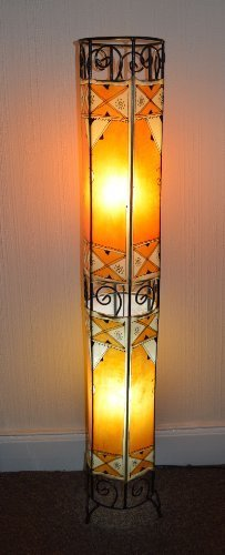 Moroccan Painted Tube Henna Lamp- Orange - 130CM