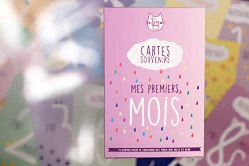 Kit de 15 cartes souvenirs pour son bébé   Cartes étapes pour les premiers mois de son bébé   Création et impression en France