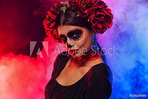 druck-shop24 Wunschmotiv: Creative Image of Sugar Skull. Neon Makeup for Halloween or Dia De Mertos Holiday. #230226385 - Bild als Foto-Poster - 3:2-60 x 40 cm / 40 x 60 cm (Halloween Fotos Dia De De)