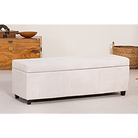 Sofa Collection Brand New Layfayette Ottoman Footstool in Soft Touch Fabric, Fabric, Cream, X-Large, 45 x 120 x 43 cm by Sofa Collection