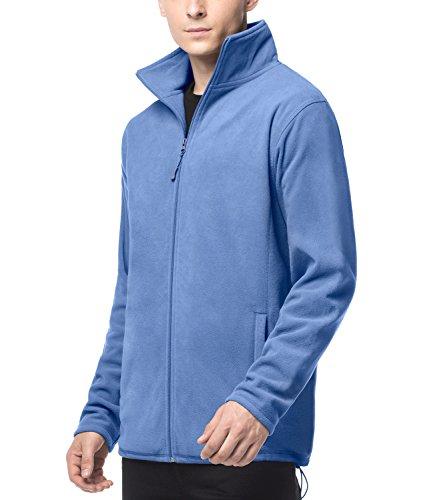 LAPASA Herren Fleecejacke Innenfleece Full Zip Stehkragen Tasche Trekking Wandern MEHRWEG M33 (L (letzter Abbildung zufolge), Blau) -