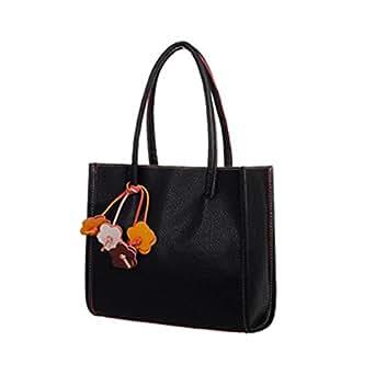 WINWINTOM Elegant Girls Leather Candy Color Flowers Handbag (Black)
