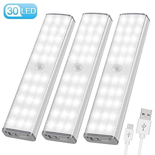 LED Schrankbeleuchtung mit bewegungsmelder Schranklicht - USB Nachtlicht 30er LEDs 3 Modi mit 3 Helligkeitsstufen, Schrankleuchte für Innenzimmer Küche und Flur, Wandlicht Treppenlicht 3er Set