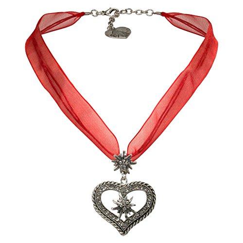 Alpenflüstern Organza-Trachtenkette Strass-Edelweiß-Herz - Damen-Trachtenschmuck mit Trachtenherz, Dirndlkette rot ()