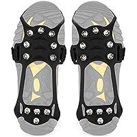 Wirezoll Steigeisen, Schuhe Spike mit Edelstahl Zähne und Silikon Band Anti Rutsch auf EIS und Schnee für Wandern Bergschuhe Stiefel usw.