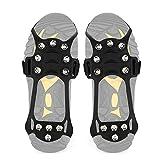 Wirezoll Lot de 10 Crampons à Chaussures antidérapants en Forme de Galets avec Chaussures, Bottes et Crampons de Neige, 11 Zähne Schwarz, m