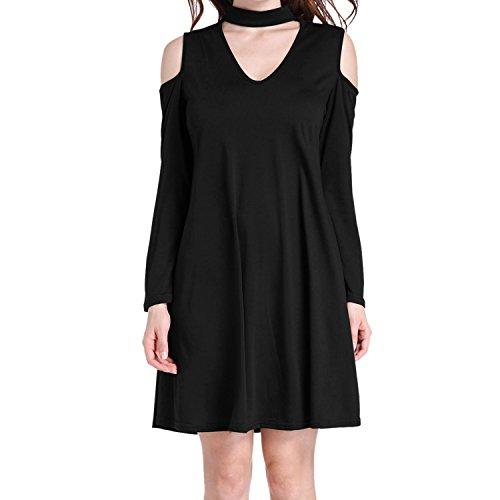 LAEMILIA Damen Schulterfrei Langarm Kleid Tunika VAusschnitt halsband Long  Shirt Loose Casual Frühling Sommer Schwarz