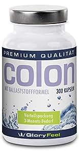 Colon Cleanse - 300 Kapseln Colon Aktiv, mit L-Lysin, Spirulina, Chlorella und Flohsamen - made in Germany