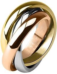 Taffstyle® Damen Verlobungsring Wickelring Designer Schmuck 3 in 1 Ring Edelstahl - Silber Gold Bronze