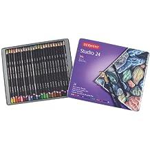 Derwent Studio - Paquete de 24 lápices de colores (con estuche metálico)