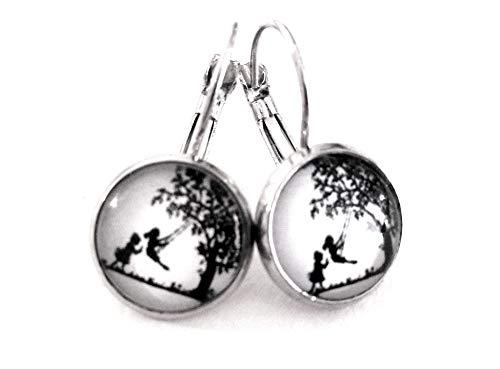 Kleine und große Schwester ☀ Kleine Scherenschnitt Handmade Ohrringe in silber, 12mm, ein süßes handgefertigtes Geschenk für die liebste Schwester oder die beste Freundin