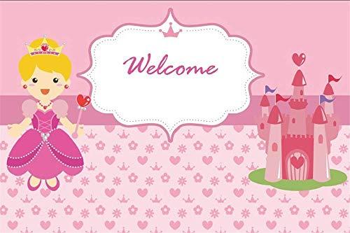 EdCott 5x3ft Willkommen in Little Princess Castle Kinder Mädchen Pyjamas Party Pink Baby Shower Hintergrund Bilder Alles Gute zum Geburtstag Fotografie Hintergrund Events Partys Fotostudio (Urlaub Pyjamas Mädchen)