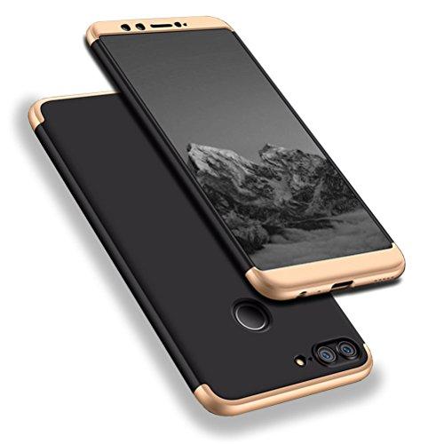 r 9 Lite Hülle, Abdeckung Tasche Anti Fingerabdruck Stoßfest Anti-rutsch 3 in1 Harte PC Schutzhülle für Huawei Honor 9 Lite Schwarz Gold + Panzerglas Schutzfolie (Bling-bling-felgen)