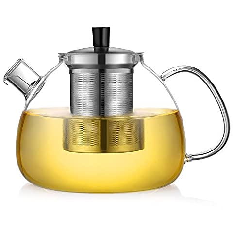 Ecooe Teekanne Glas Teebereiter 1500 ml mit abnehmbare Edelstahl-Sieb Glaskanne Aufheizen auf dem