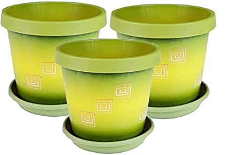 Set of 3 coloured plant pots with saucer 15 cm - 5.9 inch Olive Green-Greek
