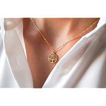 Damen Kette in Gold – Filigrane Halskette für Frauen mit Lebensbaum Anhänger – Made by Nami Handmade Schmuck – Geschenk zum Geburtstag (Gold Baum)