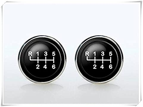 cufflinks- Silver plated Car Transmission Cuff links for men and for women Accessories cars gear shift black