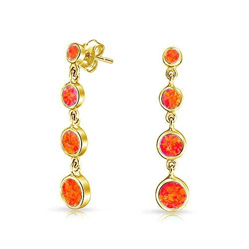 Runde Scheibe Mexican Fire Opal Lange Orange Lünette Baumeln Ohrhänger Für Damen 14K Vergoldet Sterling Silber Erstellt