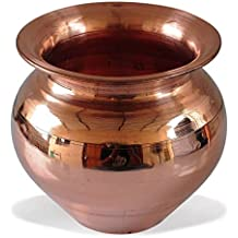 Santosh Copper Combo of Handmade Copper Lota | Kalash | Pooja Utensil for Home & Tempal in 100% Copper of 1 Copper Pooja Plate