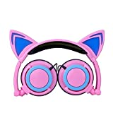 Lecc Cat Ear Headphones Auriculares estéreo de 3.5mm con Orejas Brillantes para niños Plegable Rotar Ear Stereo Headphone para niñas Cosplay Compatible con iPhone Android,I