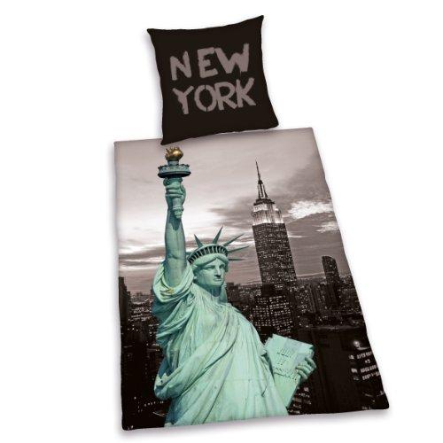 Herding 485916050412 Bettwäsche New York Liberty, Kopfkissenbezug: 80 80 cm, Bettbezug: 135 200 cm, Microfaser (Bettwäsche York New)
