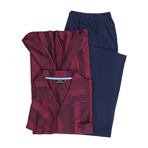 hajo Pyjama 'Klima-Komfort' in Bordeaux Übergröße 7XL, Größe:6XL