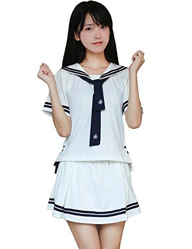 Adult Dame Kostüm Japanische - Olanstar Damen Anime Schuluniform Japanisch Sailor Röcke Halloween Cosplay Kostüm