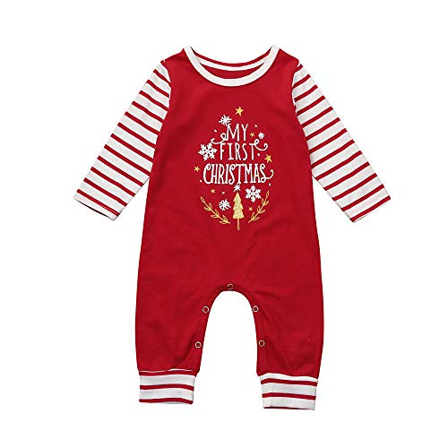 Beikoard Kleinkind Baby Jungen Mädchen Weihnachten Kleidungs Set Brief Strampler Overall Set Overall Hut Set Baby Neugeborenes Kleidungs Set