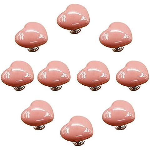 fbshop (TM) Juego de 10pomos de cerámica diseño de forma de corazón, Candy Color bebé Kid 's de los niños muebles tiradores de asas para puerta armario cajón armario Dresser Bin Pecho estantería etc. con tornillos, rosa, 50 mm