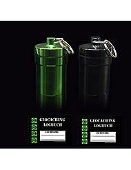 2 x großer Cache Container + 2 x Logbuch camouflage Geocaching Versteck rießiger - MICNO Micro, Nano passt auch ein FTF TravelTag oder Travelbug rein- wasserdicht mit Logbüchern Powertrail zum aufhängen